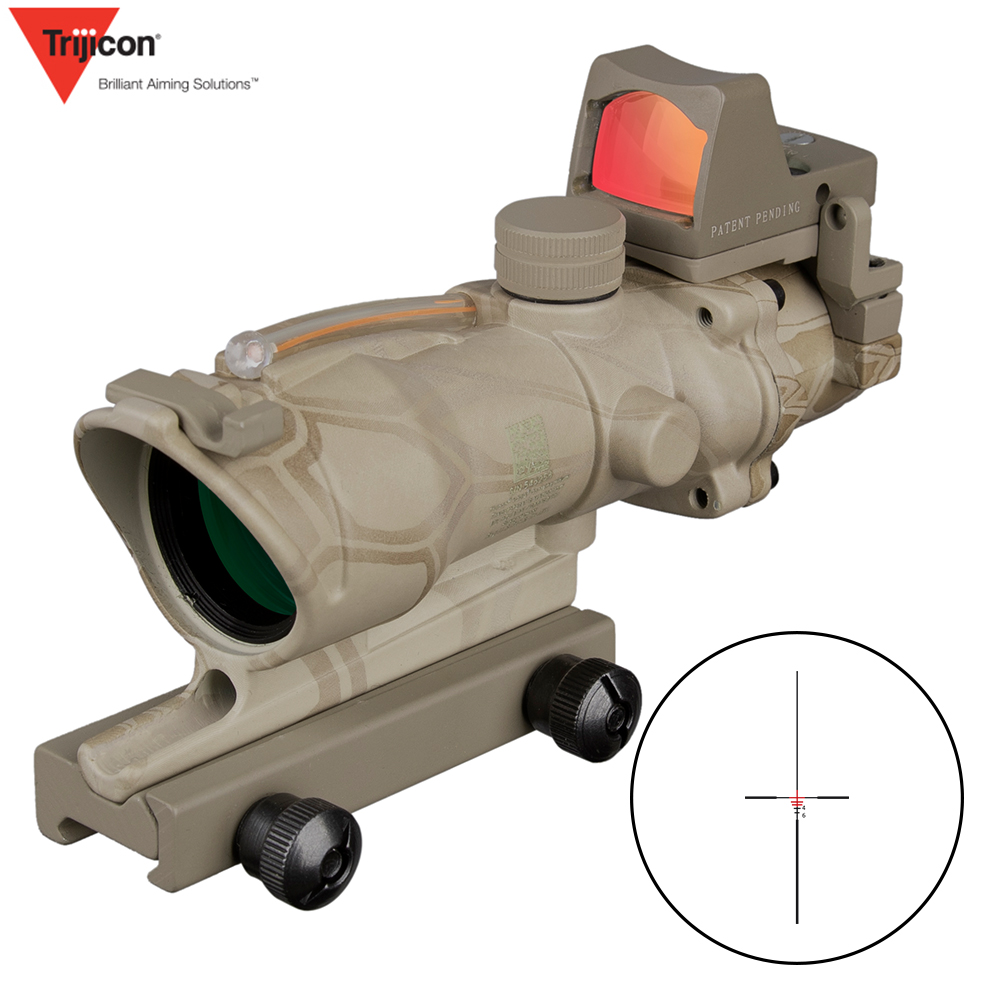 Acog 4x32 Green Fiber Source Real Fiber Scope W/ Rmr Micro Red Dot Sight Marked Version Riser Hunting 5 Color
