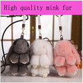 100% Real 16cm Mink Fur Keychain Pendant Pompoms Keyring Bag Car Charm Tag Cute Mink Fur Keychain Hook Baby Stroller Accessories