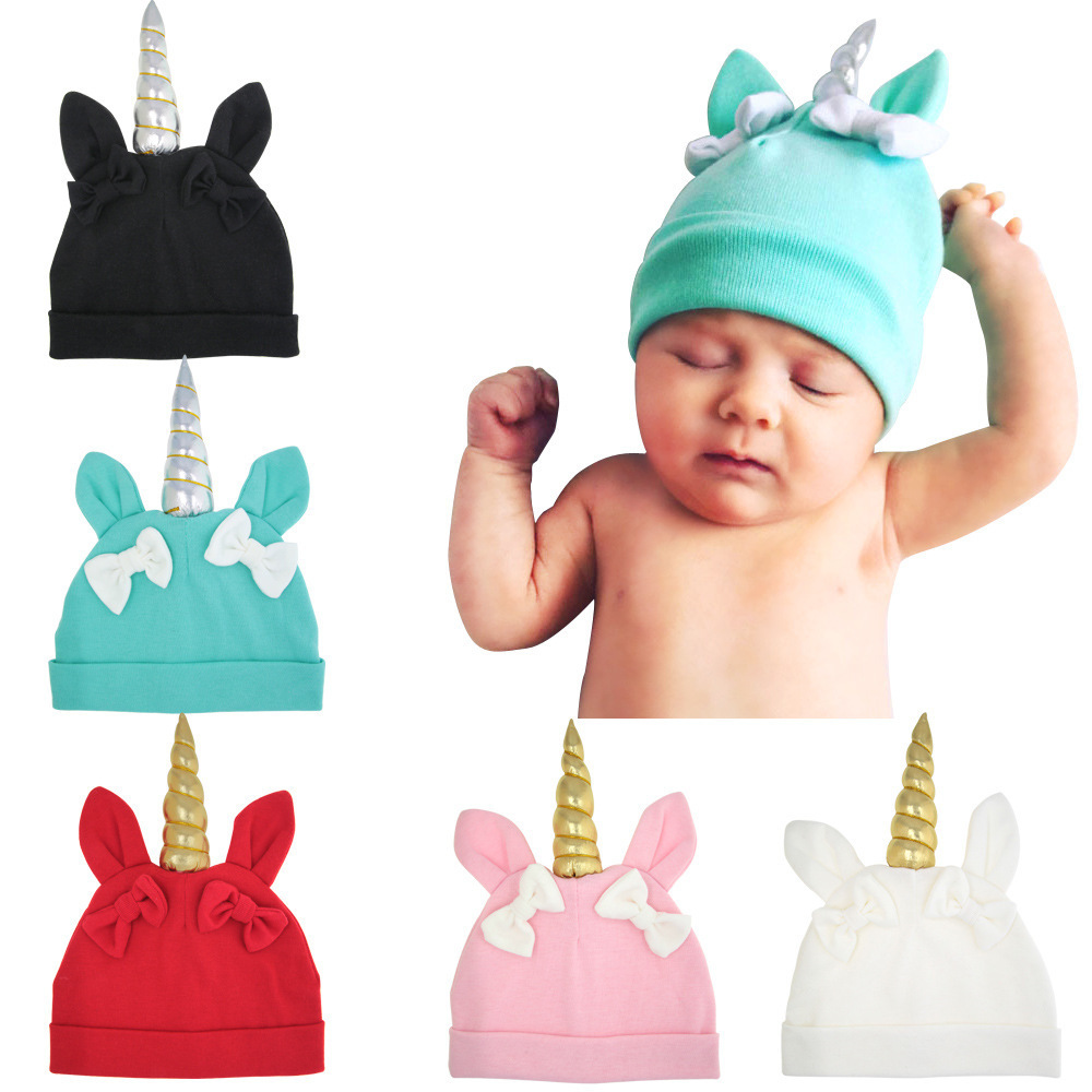 WunderschöNen 100% Baumwolle Infant, Adzuki Bean Infant, Kaninchen Ohr Einhorn Kappe, Baby Kappe, Schmetterling Knoten Einhorn Kappe Hell In Farbe