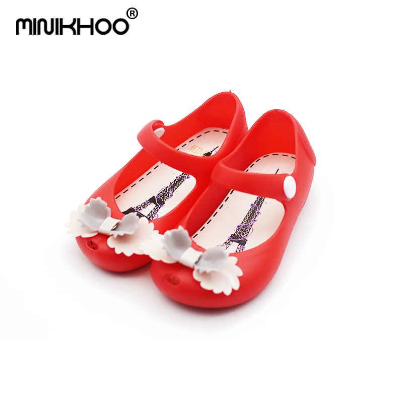 Mini Melissa Brand Children Sandals Double Layer Bow Girl Sandals Jelly Shoes Baby Sandals Waterproof 13cm-15.5cm Brazil Shoes