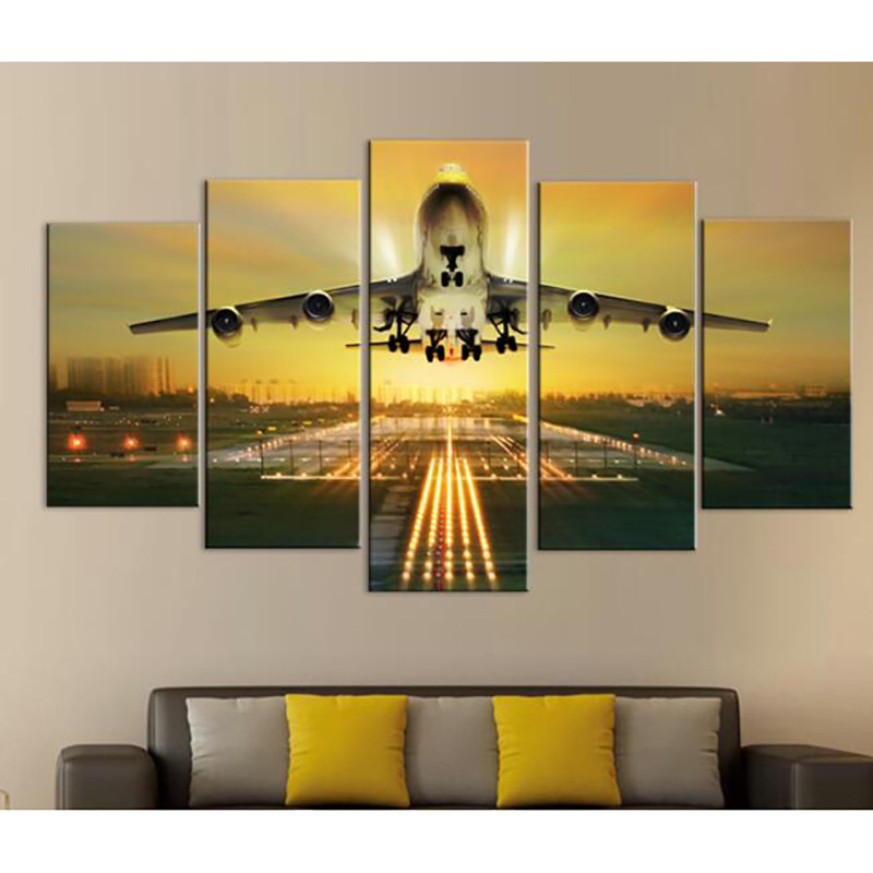 Modern decorative art wall painting yellow airplanes and runways soaring sky Frameless painted bedroom decoration