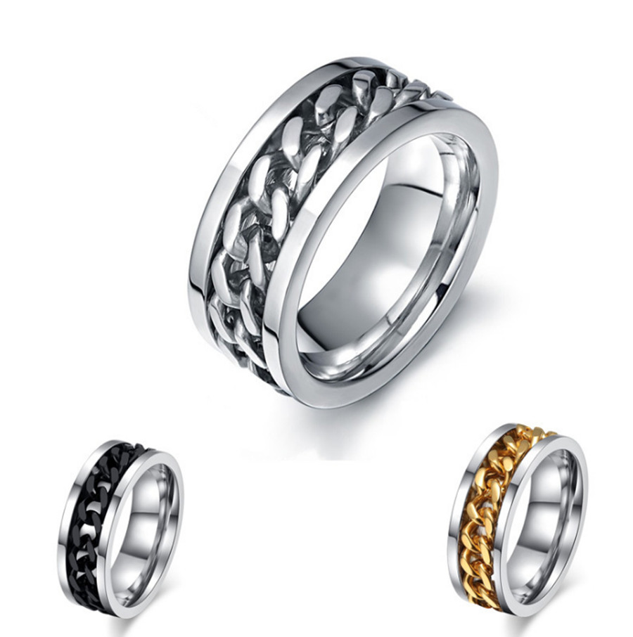Fashion Spinner Black Chain Ring For Men Punk Titanium Steel Metal Brand Finger Anel 316L Stainless Steel Men's Rings Jewelry