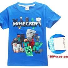 9f979b346 Verano bebé niños T camisa Minecraft de impresión de dibujos animados de  algodón Tops Tees Camiseta para los niños de los niños .