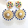16 new European fashion retro round pearl earrings earrings exaggerated baroque style earrings  0430