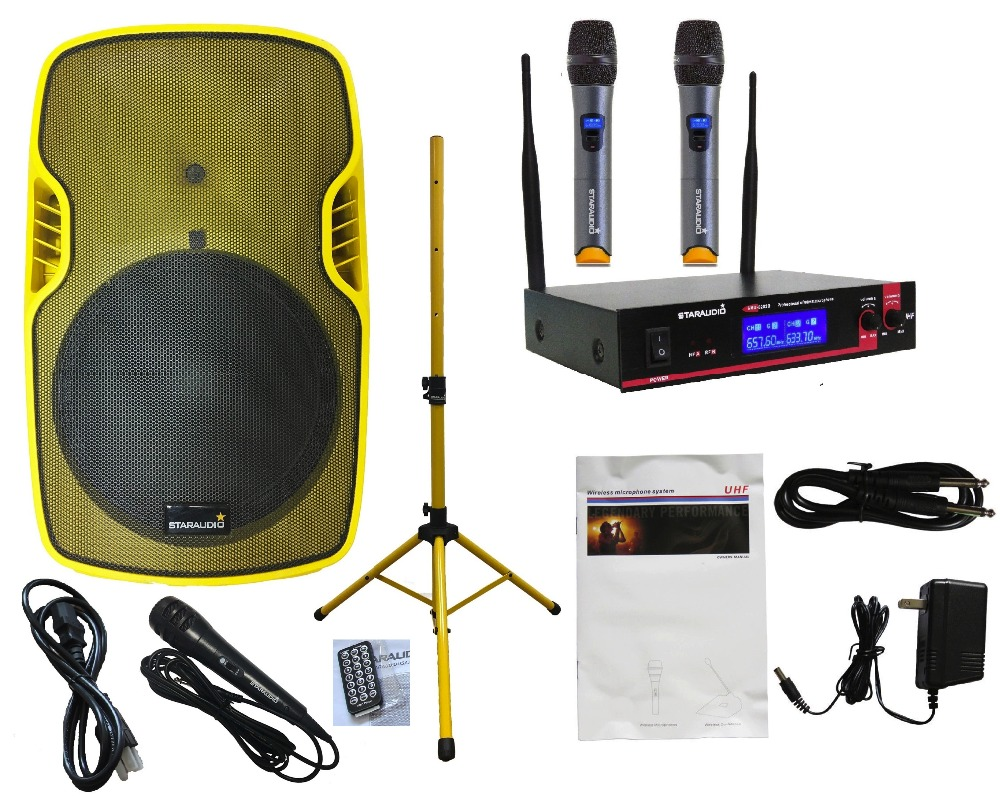 STARAUDIO 15 3500W Powered Active PA DJ Stage USB SD FM BT Speaker with Stand 2CH UHF Mic System 21 Wired Microphone SSYM-15