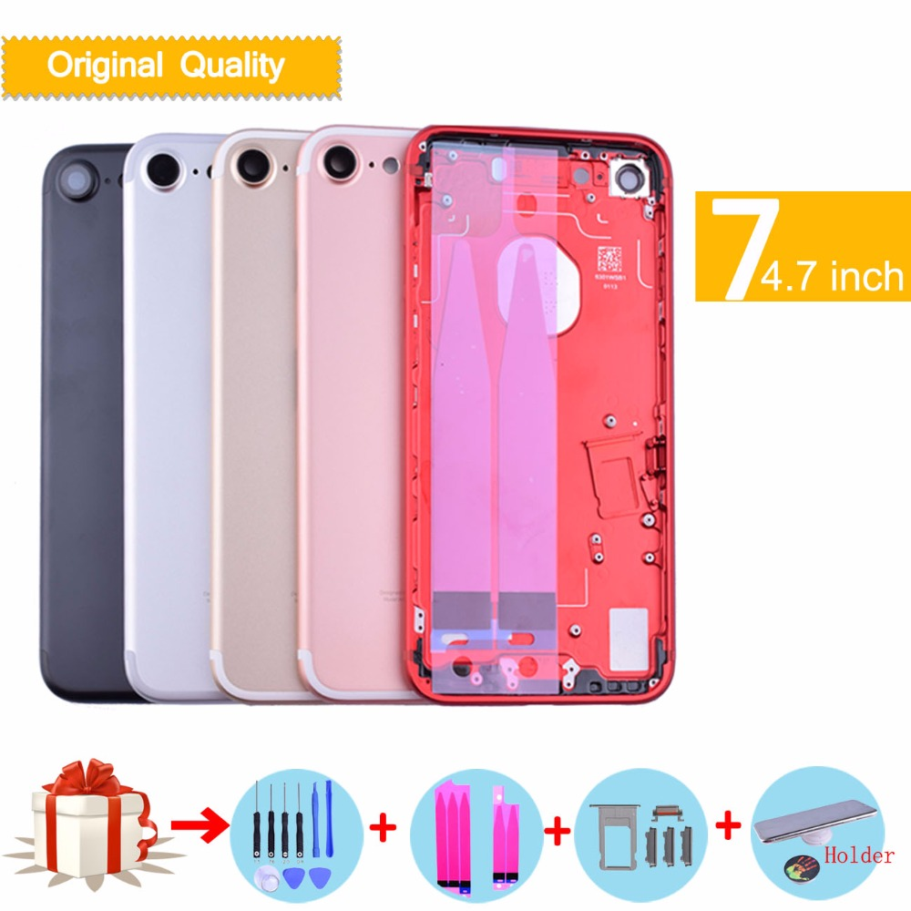 For iphone7 coque Original Quality New Metal Battery Cover Door Full Housing For Apple Iphone 7 7G Chassis Middle Frame