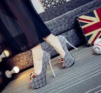 Apricot color 16cm 12cm super high heels black velvet fish mouth shoes sweet princess bow knot gray 14cm wedding shoes waterproo
