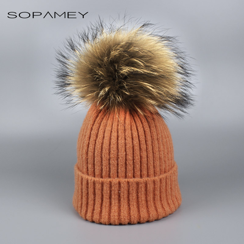 Fashion Girl Skullies Beanies Winter Hats for Children Knitting Cap Hat Pompoms Ball Warm Brand Casual Gorros Thick Female Cap leather skullies cap hats 5pcs lot 2278