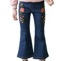 Spring Girls Embroidery Floral Denim Pants Toddler Girl Jeans Kids Flares Children Summer Trousers Infant Kids Boot Cut Pants
