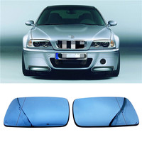 For BMW E46 4 Door 1998 1999 2000 2006 Rear View Mirror Accessories 1 pair Car Side Rearview Mirror Glass Blue Lens With Heated