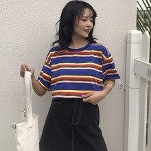 2019 Summer Fashion Loose Women Stripe Printed T-shirt Harajuku Short Sleeve O-neck Cozy Casual Student Tee Tops tee shirt femme