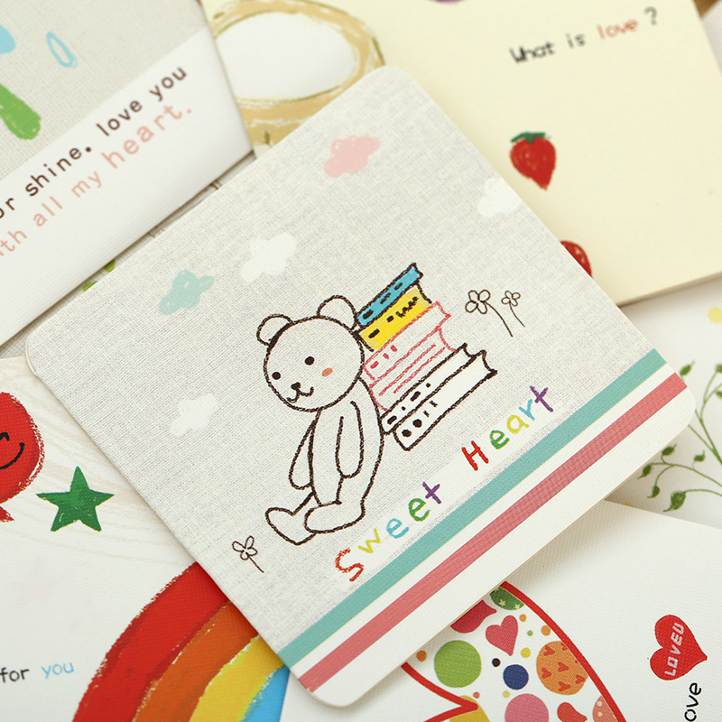 6 card + 6 envelope /lot cartoon mini greeting card thank you card ...