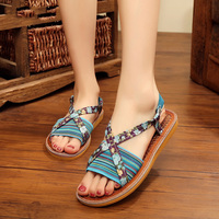 Veowalk Natural Palms Bottom Series Fashion Women S Cross Strap Flat Sandals Tropical Color Ladies Casual