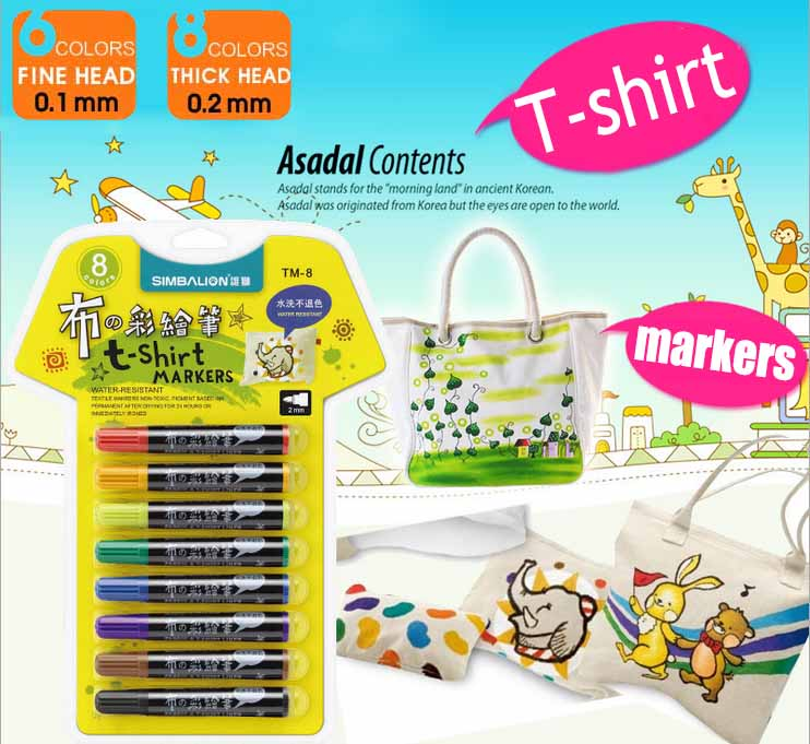 DIY Water Resistant Painting Colored Markers 6/8 Colors T-shirt Liner Textile Marker Non-toxic Pigment-based Ink Fabric Color 8 color suit highlighter chalk markers chalkboard erasable dustless water based non toxic liquid pens set