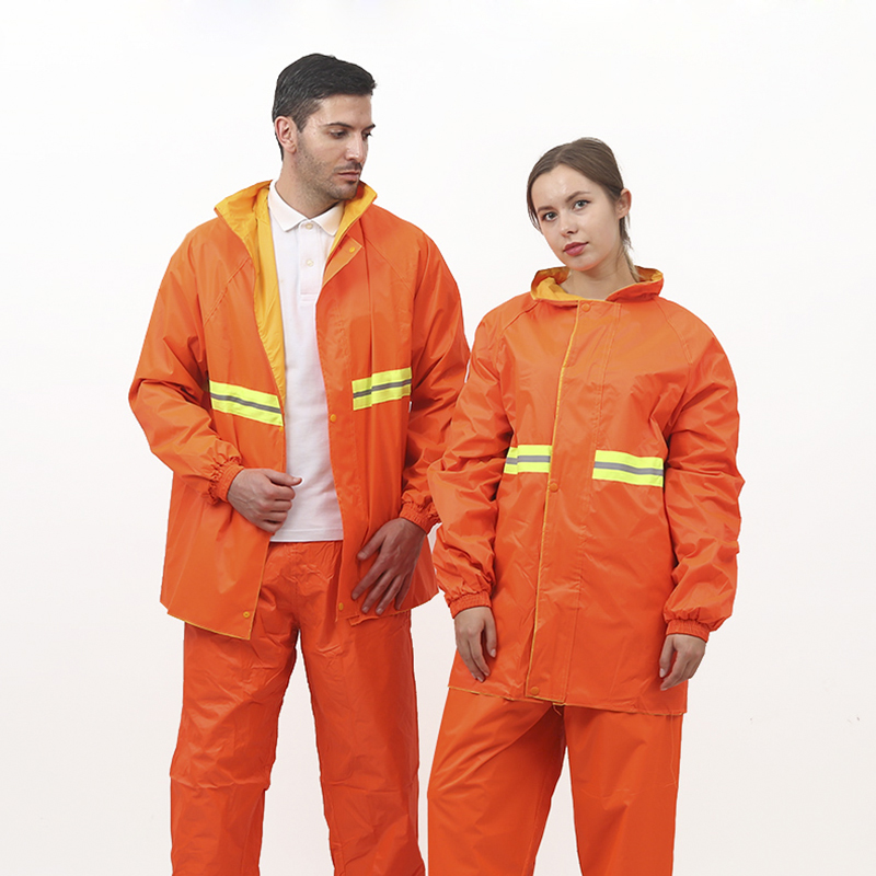 Raincoat Suit Reflective Waterproof Jacket and Pants Set Hooded Waterproof Clothing Outdoor Unisex Safety Orange Warning clothes цена