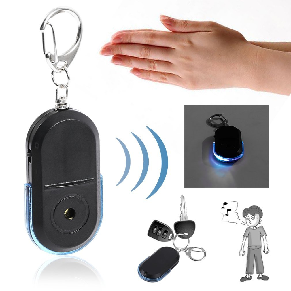 Portable Old People Anti-Lost Alarm Key Finder Wireless Useful Whistle Sound LED Light Locator Finder Keychain