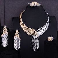 GODKI Luxury Tassels Drop Mixed Women Wedding Cubic Zirconia Necklace Earring Saudi Arabia Jewelry Set Jewellery Addiction