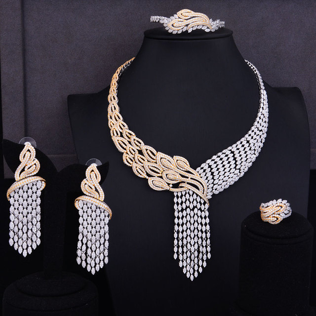 GODKI luksusowe frędzle spadek mieszane kobiety ślubne Cubic naszyjnik z cyrkonią kolczyki biżuteria z Arabii Saudyjskiej zestaw uzależnienie od biżuterii