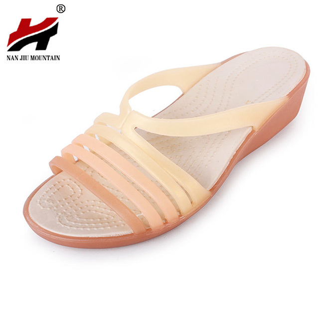 2018 New Women s Shoes Sandals Beach Shoes Wedge With Plastic Jelly Shoes  Fish Mouth With Plastic Word Sandals And Slippers 6dddade44012