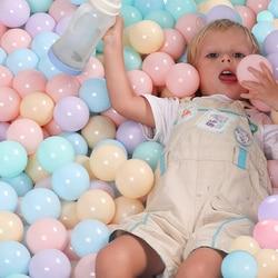 100 unids/lote respetuoso del medio ambiente Bola de colores de plástico suave bola del océano bebé chico nadar pozo juguete piscina de agua de ola de océano bola diámetro 5,5 cm