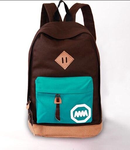 2015 New woman backpack hot Sale Korean style women school bag fashion patchwork flap canvas mochila