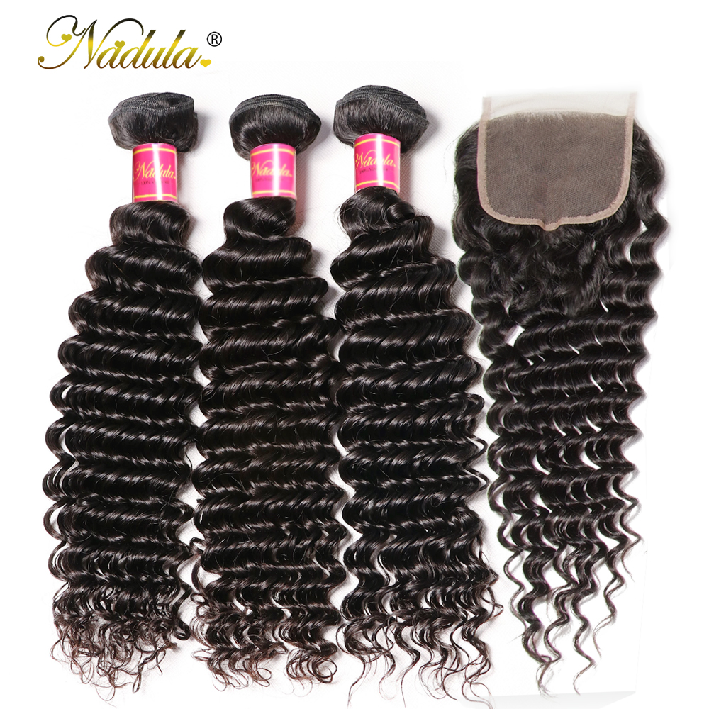 Nadula Hair With Closure Deep Wave  With Lace Closure 100%  Bundles With Closure Natural Color  Hair 3