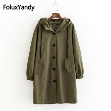 Solid Hooded Trench Autumn Spring Outerwear Women Long Coats Plus Size XXXL 4XL Single Breasted Coat KKFY2730