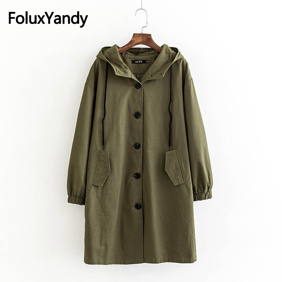 Solid Hooded   Trench   Autumn Spring Outerwear Women Long Coats Plus Size XXXL 4XL Single Breasted   Trench   Coat KKFY2730