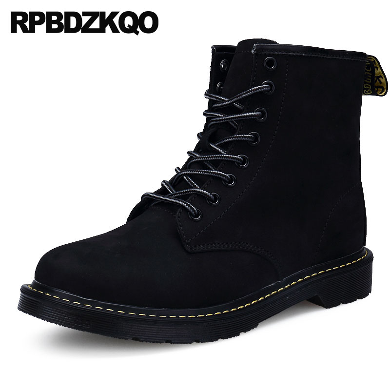 Genuine Leather Shoes Luxury High Top Black Full Grain Lace Up Army Booties Winter Men Boots With Fur Combat Warm Faux Military коронка пильная makita 38х40мм ezychange b 11368