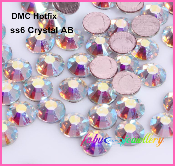 ¡Envío gratis! 1440pcs / Lot, ss6 (1.9-2.1mm) Alta calidad DMC Crystal AB / Clear AB Iron en Rhinestones / Hot fix Rhinestones