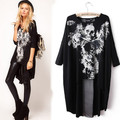 2015 European and American Style The Avant-Garde Rock and Roll T-Shirt Women Skull Dovetail Casual Dress