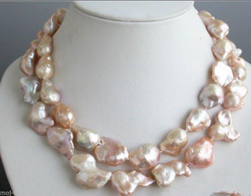 Livraison gratuite @ @ @ @ @ Livraison gratuite Grand 15-23mm Rose Naturel Baroque Culture D'eau Douce Collier de Perles 33