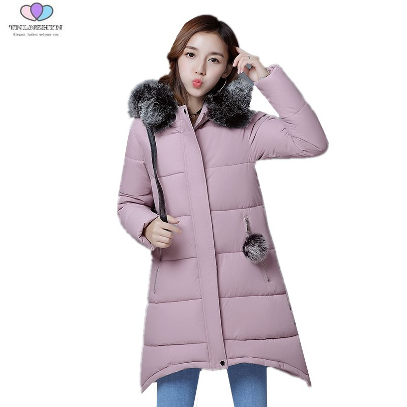 2017 New Autumn Winter Jacket Thick Fur Collar Women Down Cotton Jacket Coat Slim Hooded Long Cotton Outerwear TNLNZHYN E172