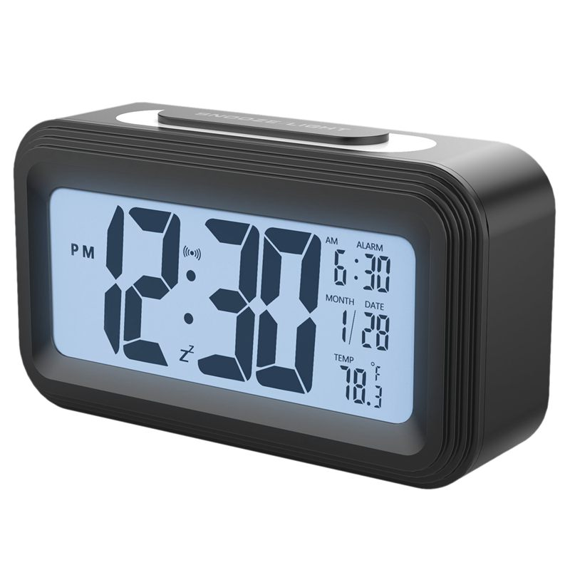 [Upgrade Version] Battery Operated Alarm Clock,Electronic Large Lcd Display Digital Alarm Clocks With Snooze,Backlight,Night L
