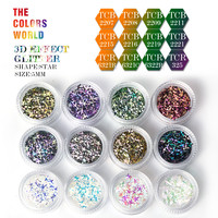 TC3DST 001 12 Colors 3D Effect 5MM Star Shape Glitter Set For Nail Glitter Sequins Nail