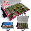 Alta calidad 14 unids/set jade placa de cara masaje de espalda masaje corporal con piedras calientes SPA con caja del calentador CE y ROHS