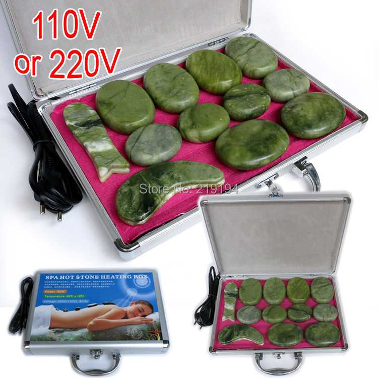 High quality 14pcs/set green jade body massage hot stone face back massage plate SPA with heater box CE and ROHS