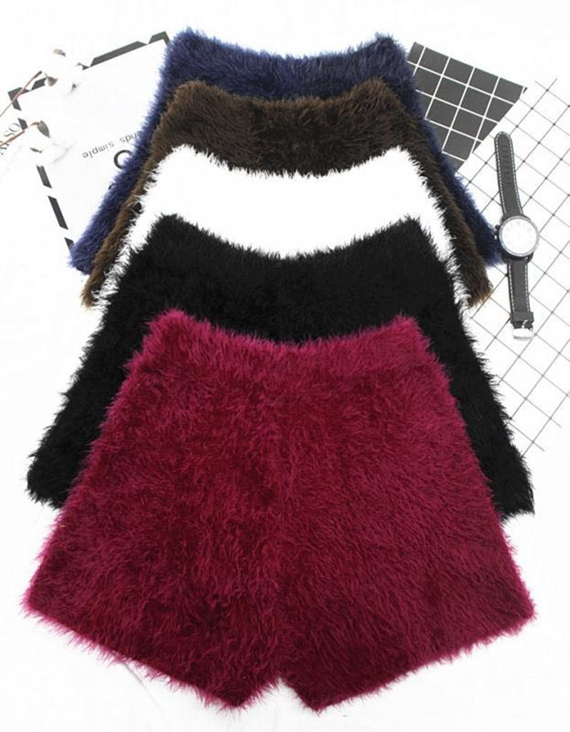 Autumn Winter   Shorts   Women Thicken Mini Sexy Mohair Women   Shorts   White Black Fashion Warm   Short   Femme High Waist   Shorts   C5125