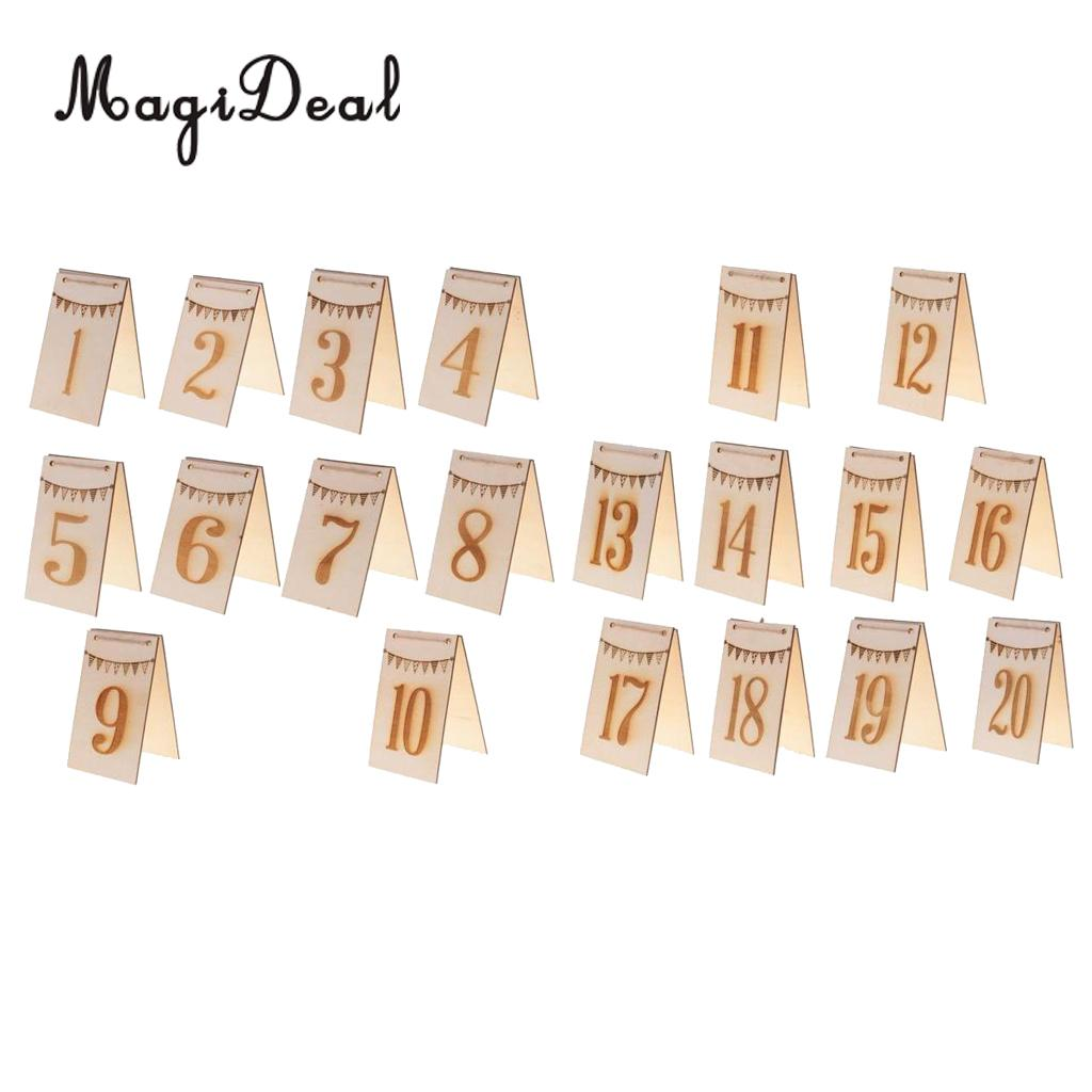 MagiDeal 1-20 Double Side Bunting Wooden Table Numbers Free Standing Table Decoration