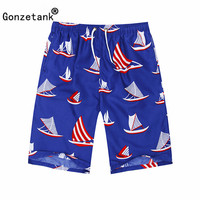 GONZETANK 2017 Summer Men High Waisted Beach For Bermuda Sweat Casual Jogger Cargo Red Sailboat Movement