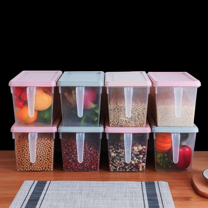 4PCS 5L Organizer Food Container Refrigerator Storage Boxes Transparent PP Storage Box Grains Beans Storage Contain Sealed