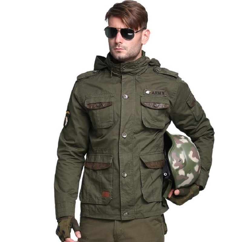 Outdoor Mens Tactical Military M65 Male Coat Man Windbreaker Camping Overcoat Multi-pocket Hooded Pilot 101 Air Force Jacket Sports & Entertainment Camping & Hiking