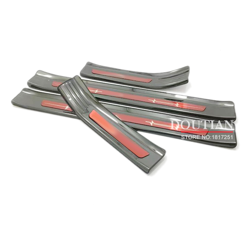 For Hyundai Kona ev Stainless Door Sill Strip Covers Welcome Pedal Car Styling Stickers Auto Decoration Accessories 2018