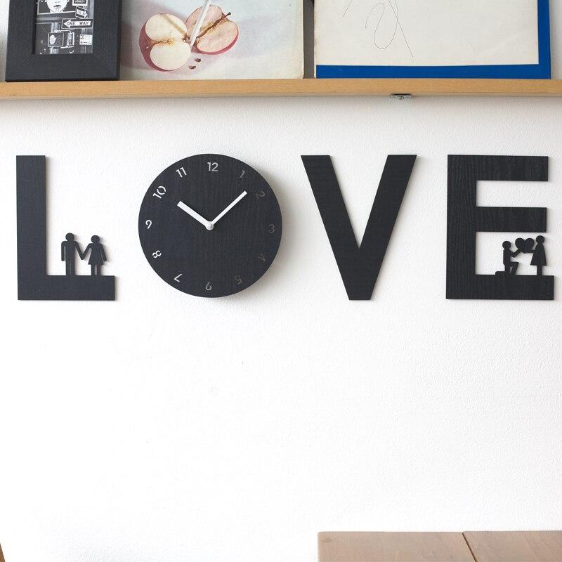 Mandelda bricolage horloge murale en bois amour Quartz Design moderne décoratif doux amour montre 520, livraison directe disponible