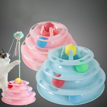 Pet Toys Cat Tower three levels Turntable Tracks Disc Intelligence Amusement Cat Toys Ball Training Interactive Toy for Cats все цены
