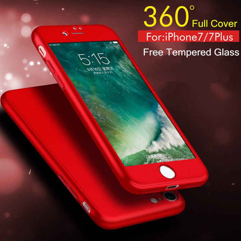 New Ultra Slim Case for Apple iPhone 7 iPhone7 Plus Full Protective Cover 360 Degrees Back Cover+ Free Glass Film