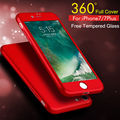 Nuevo ultra slim case para apple iphone 6 6 s 7 plus iphone7 plus cubierta protectora completa 360 grados back cover + vidrio película