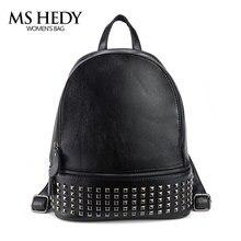 MS Хеди Для женщин рюкзак заклепки Back Pack Путешествия школьный женский Обувь для девочек черный рюкзак Мини Малый