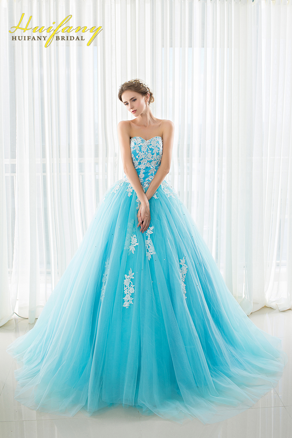 Light Blue Ball Gown Prom Dresses with Appliques Beaded Lace Up ...