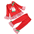 2016 Children Christmas Outfits Red Clothing Sets Autumn Striped Baby Girls Tops + Pants 2 Pcs Casual Suit Set tyh-40337